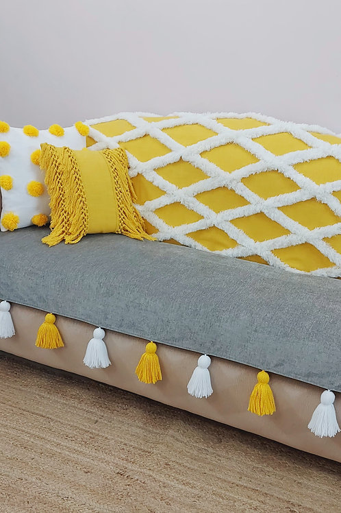 Sunflower Yellow Tufted Tassel Throw/Couch Cover-Set