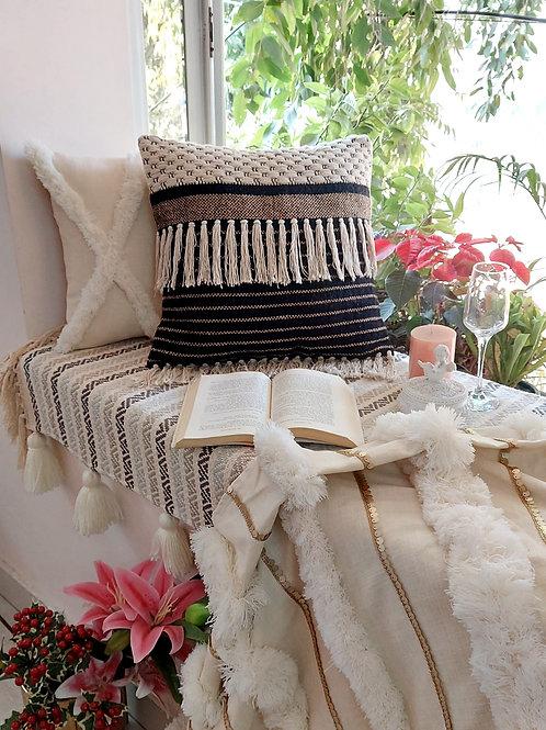 Boho Fringed Half n Half Design Cushion Cover