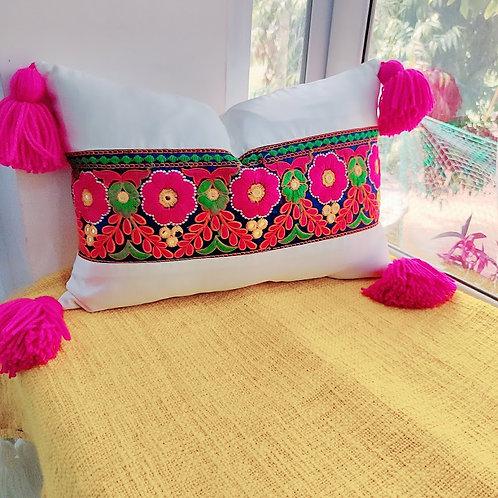 Multicolored Embroidered BOHO Rectangular Cushion Cover