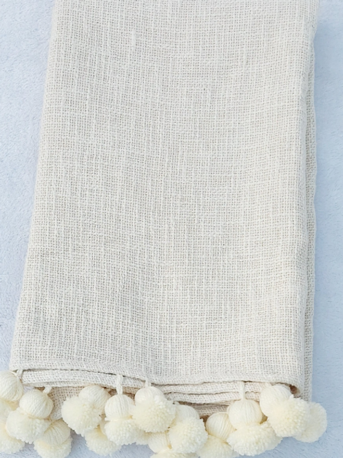 Neutral Lychee Pom-Pom Throw/ Couch Cover