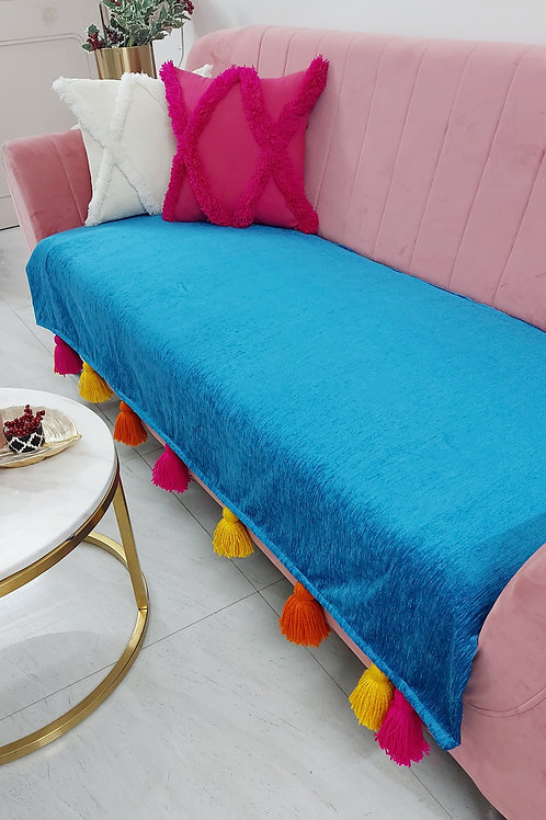 Teal Blue Throw/Couch Cover with Tri-Coloured  Tassels
