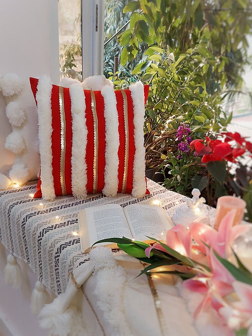 Red Moroccan Tufted Cushion Cover