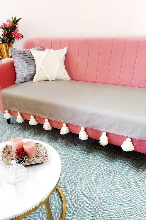 Grey Throw/Couch Cover with White Tassels