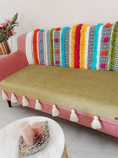 Bohemian Green Tufted Multicolored Tassel Throw/Couch Cover Set