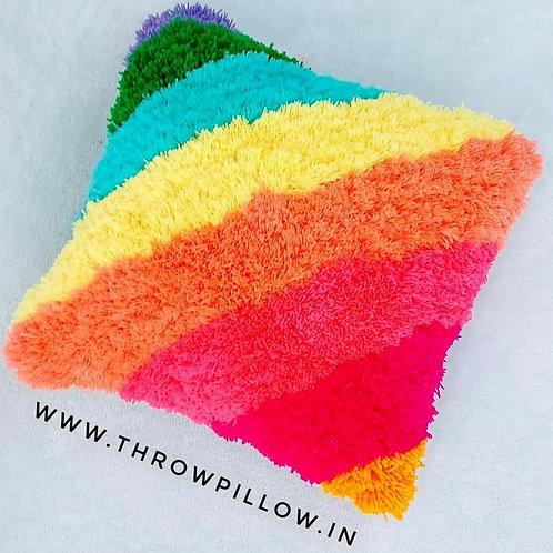 Rainbow Shaggy Cushion Cover