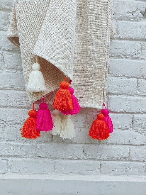White Textured Tassel Couch Cover with Multicoloured Tassels
