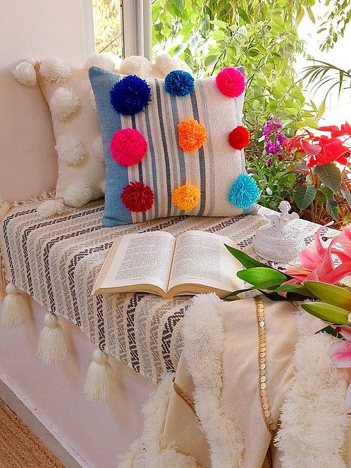 Striped Pom-Pom Cushion Cover