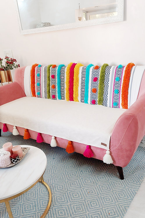 Bohemian Tufted Multicolored Tassel Throw/Couch Cover Set