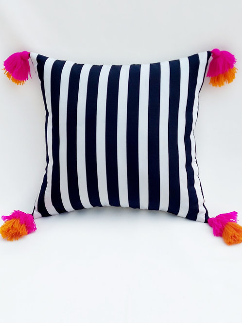 Black & White Stripes with  tassels Cushion Cover