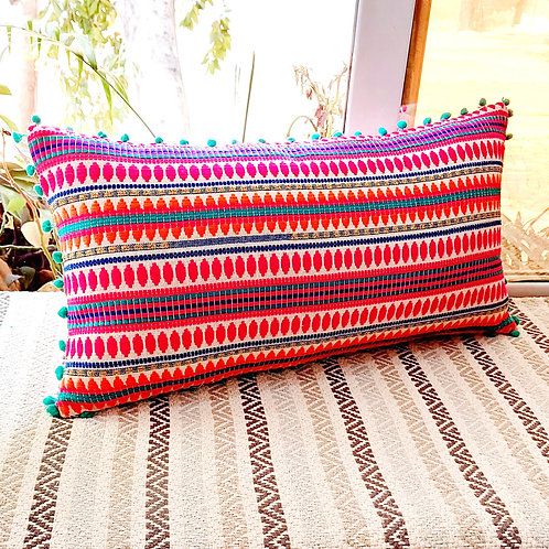 Multicolour Woven Cushion Cover with pom poms