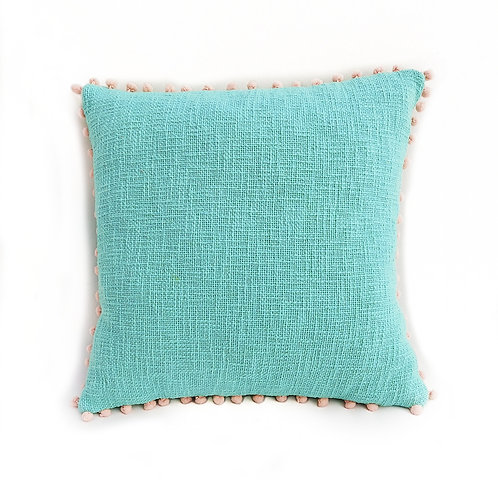 Mint Green Textured Cushion Cover with Blush Pom Poms