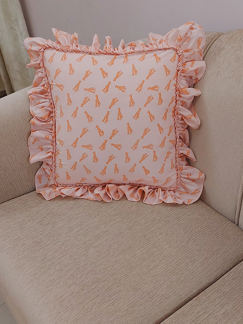 Baby Giraffe Print Ruffled Cushion Cover
