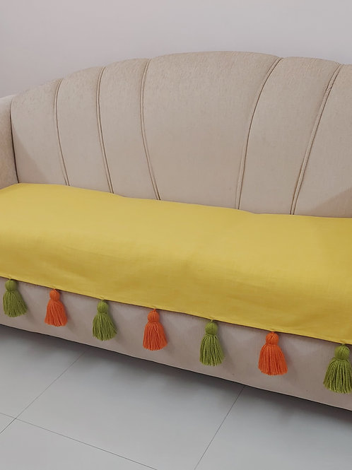 Yellow Throw/Couch cover with Dual-colour Tassels
