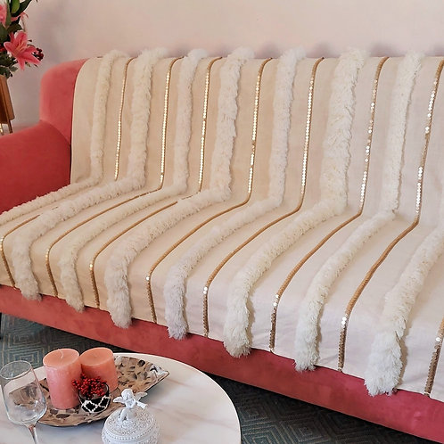 Moroccan Wedding Beige Throw/Couch Cover