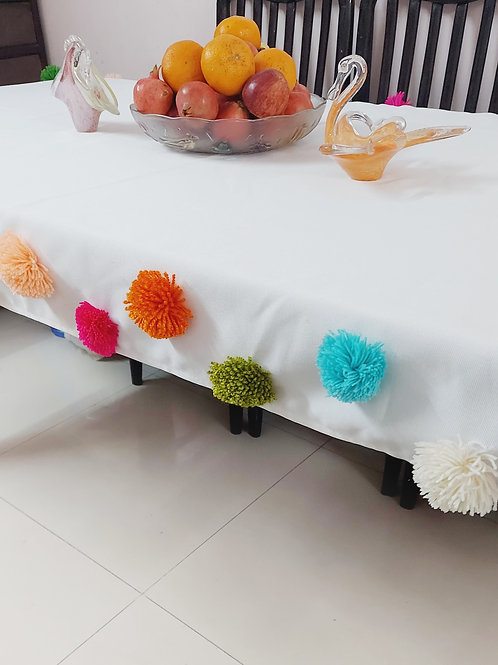 White Pom-Pom Multicolour Table Cover