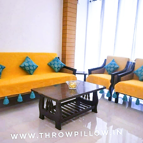 Mustard Yellow Throw with Blue tassels