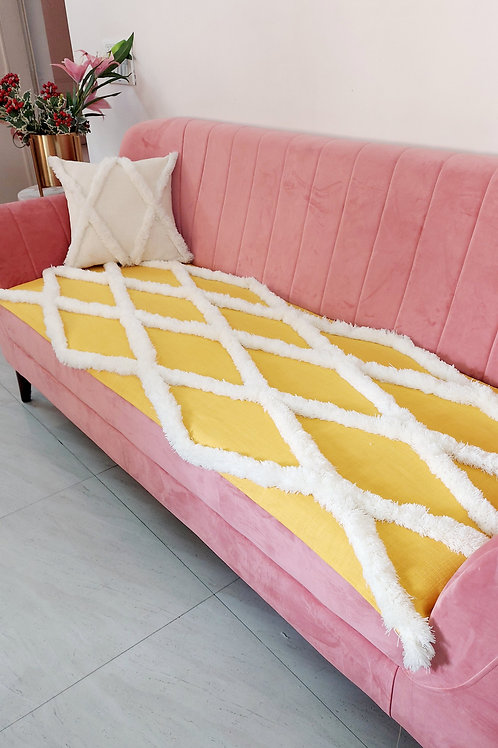 Bright Yellow Tufted Throw/Couch Cover