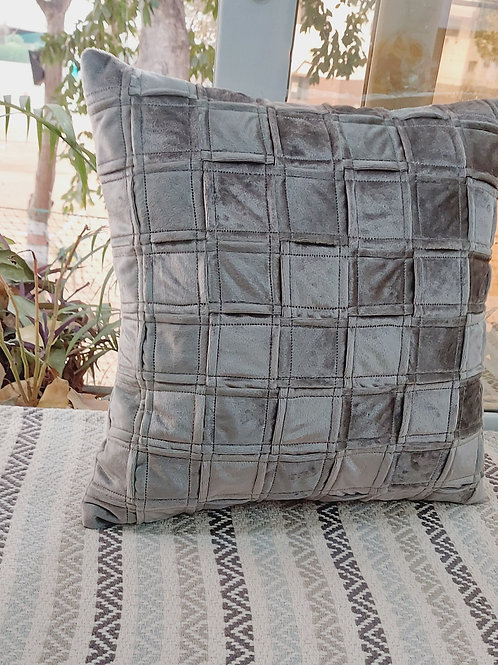 Checkered Solid Space Grey Cushion Cover