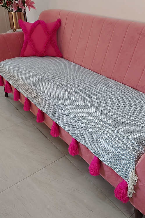 Subtle Grey Throw/Couch Cover with Fuchsia Tassels