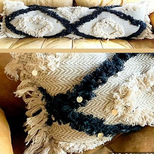 Boho Tufted Brown Lumbar Cushion Cover-12x18 inches