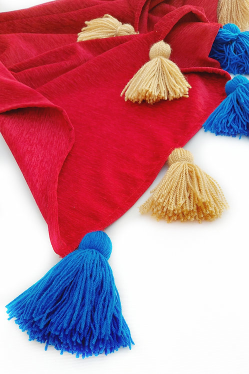 Blood Red Throw with Beige and Blue Tassels