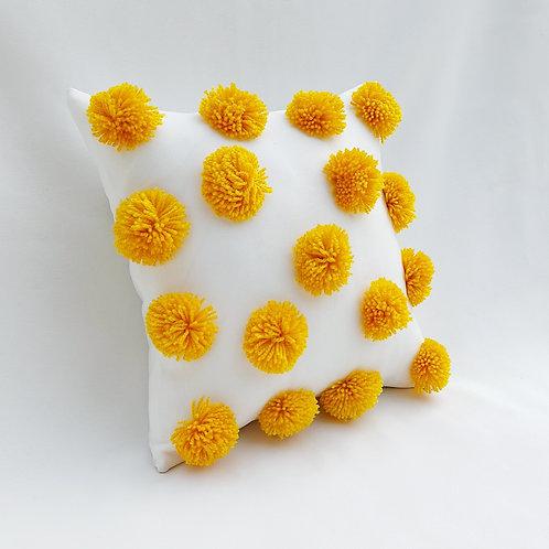 Mustard Yellow Pom Pom Cushion Cover