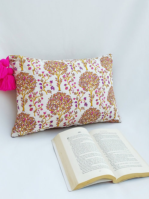 Brown Flora Printed Cushion Cover