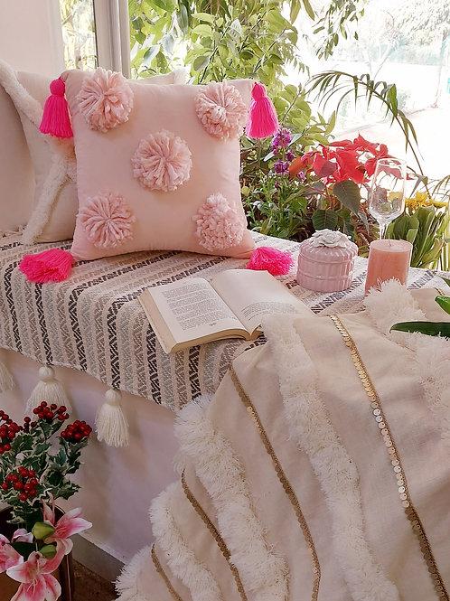 Blush Pom-Pom Cushion Cover with tassels