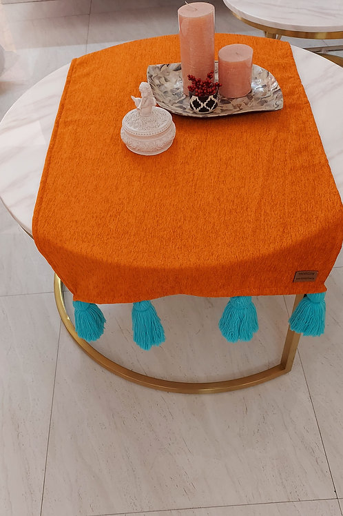 Orange Table Runner with Chunky Blue Tassels