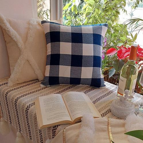 Gingham Checks Design Cushion Cover