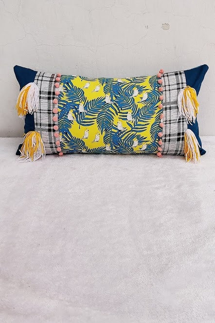 Tropical Printed Lumbar Cushion Cover-12x18 in