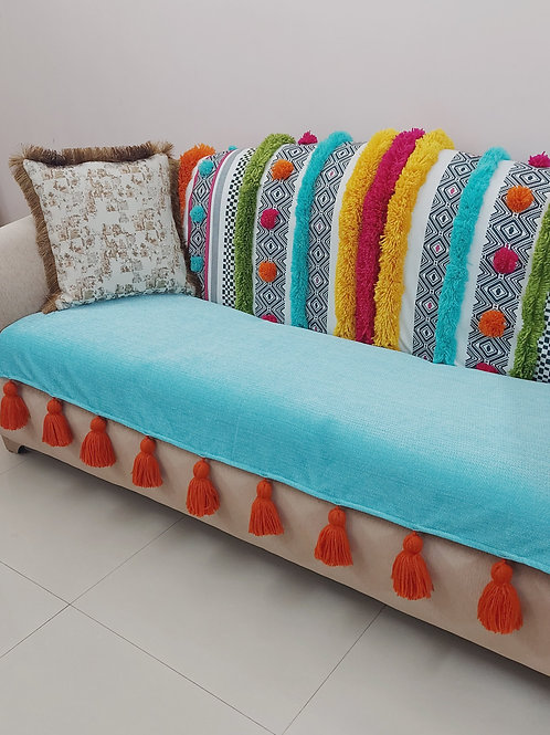 Ocean-Corals Bohemian Tufted Multicolored Tassel Throw/Couch Cover Set