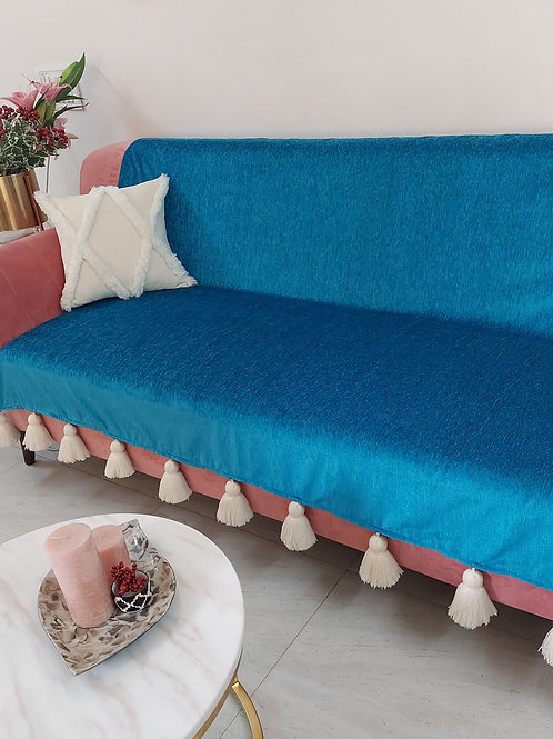 Teal Blue Throw Cover with White Tassels