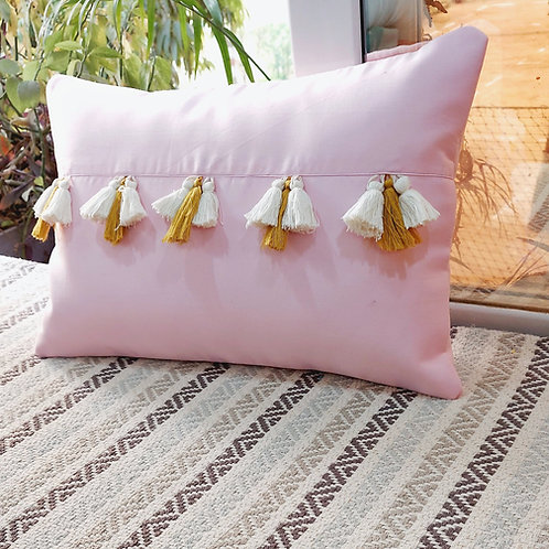 Pale Pink Tassel Cushion Cover