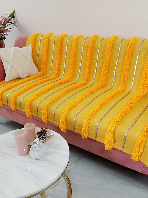 Moroccan Tufted Bright Yellow Throw/Couch Cover
