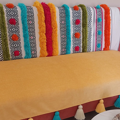 Bohemian Yellow Tufted Multicolored Tassel Throw/Couch Cover Set