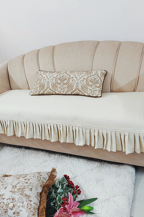 Neutral Box Pleated Couch Cover