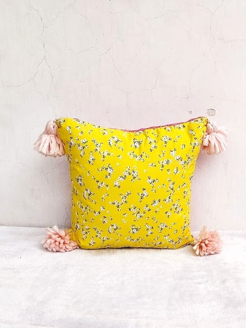 Yellow Printed Cushion Cover- 16x16 inches