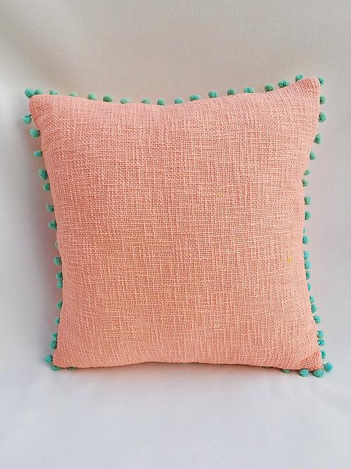 Blush Textured Cushion Cover with Aqua Blue Pom-Pom Lace