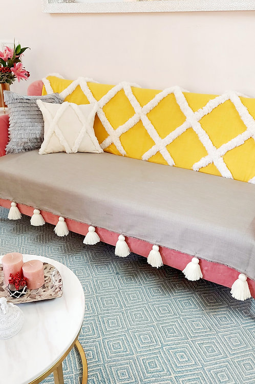 Yellow Tufting Tassel Throw/Couch Cover-Set
