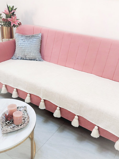 Neutral Couch Cover with Tassels