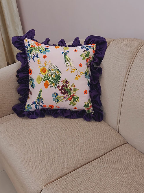 Summery Frills Printed Cushion Cover