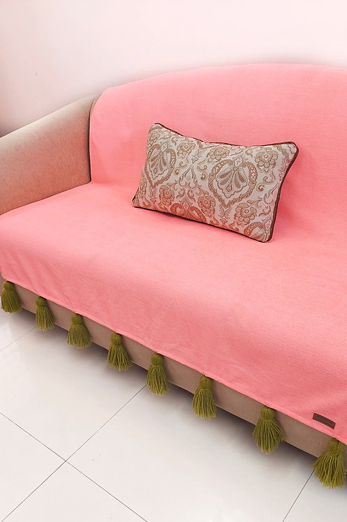 Blush Throw/Couch Cover with Sage Green  Tassels