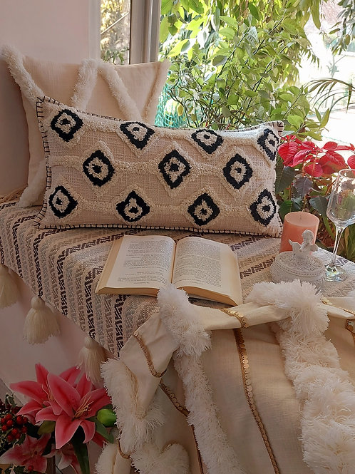 Black and White Tufted Lumbar Cushion Cover