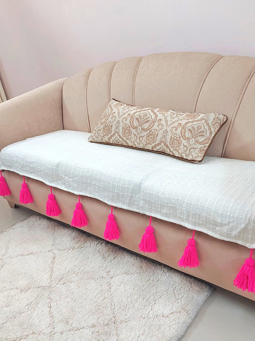 Chekered Woven Textured Cotton Throw/Couch Cover with Pink Tassels
