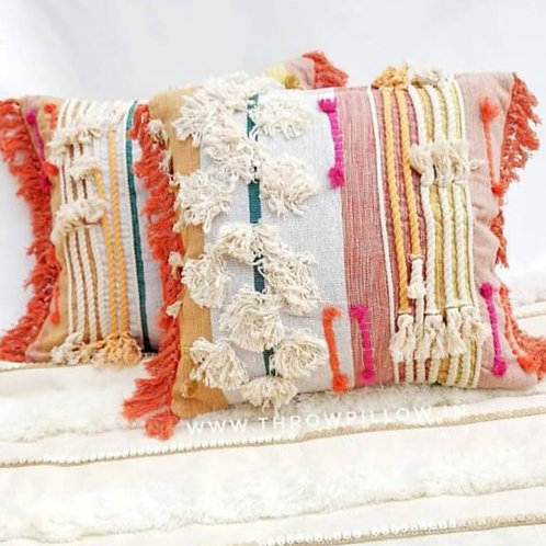 Orange Boho Fringed Cushion Cover
