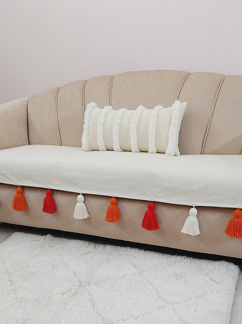 Off-White Textured Throw with  Chunky Dual-Colour Tassels