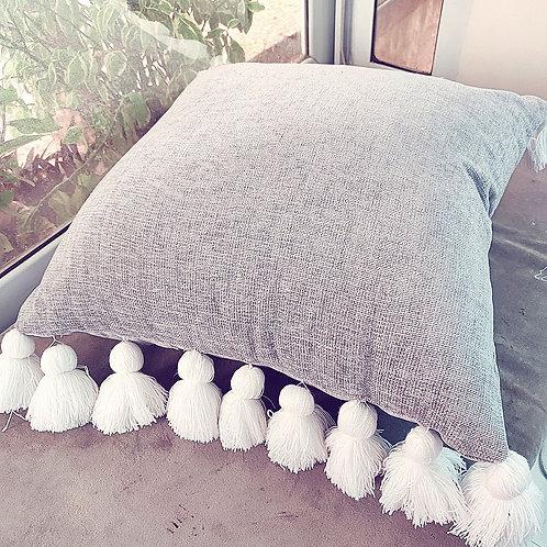 Grey Fine Thread Tassel Cushion Cover