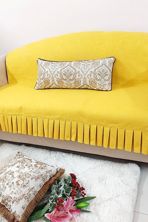 Mustard Box Pleated Couch Cover
