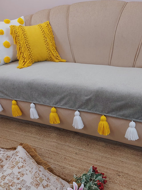 Grey Throw/Couch Cover with Yellow and White Tassels